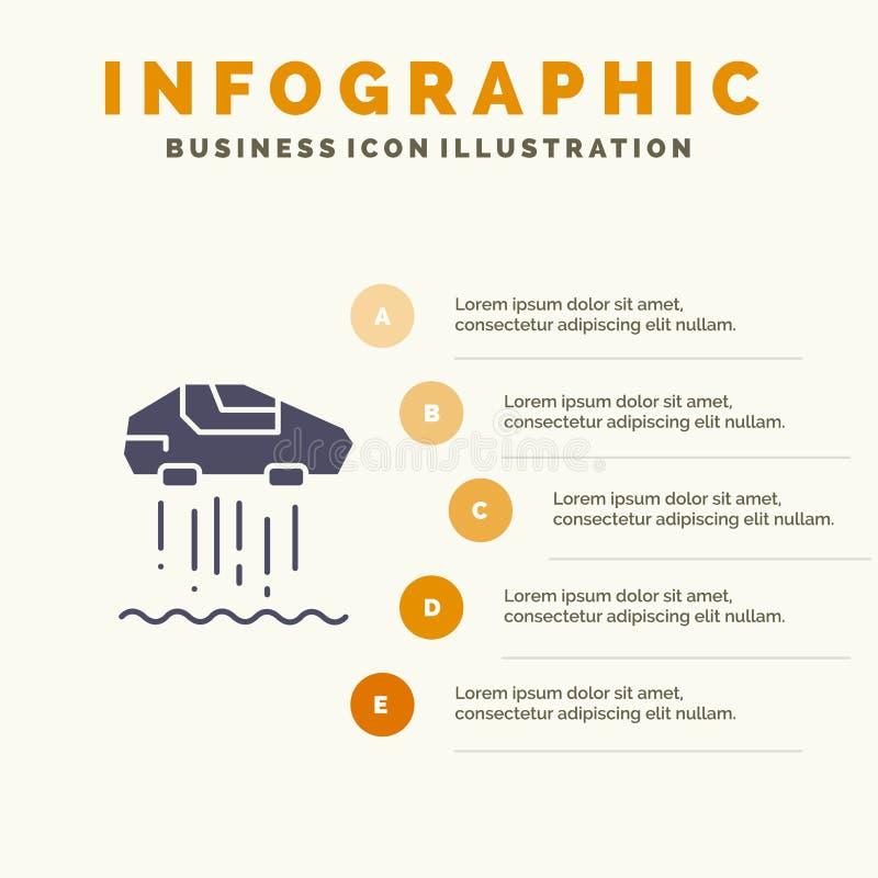 Unosi się samochód, ogłoszenie towarzyskie, samochód, technologii ikony Infographics 5 kroków prezentacji Stały tło royalty ilustracja