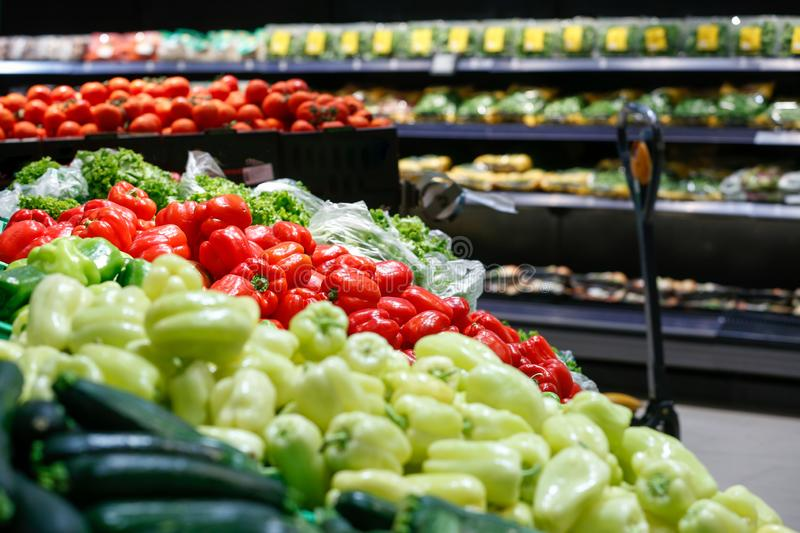 Unpacked, fresh vegetables in a self-service supermarket royalty free stock photography