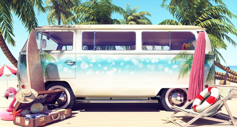 Unpacked van with mock-up space ready for summer holidays royalty free illustration