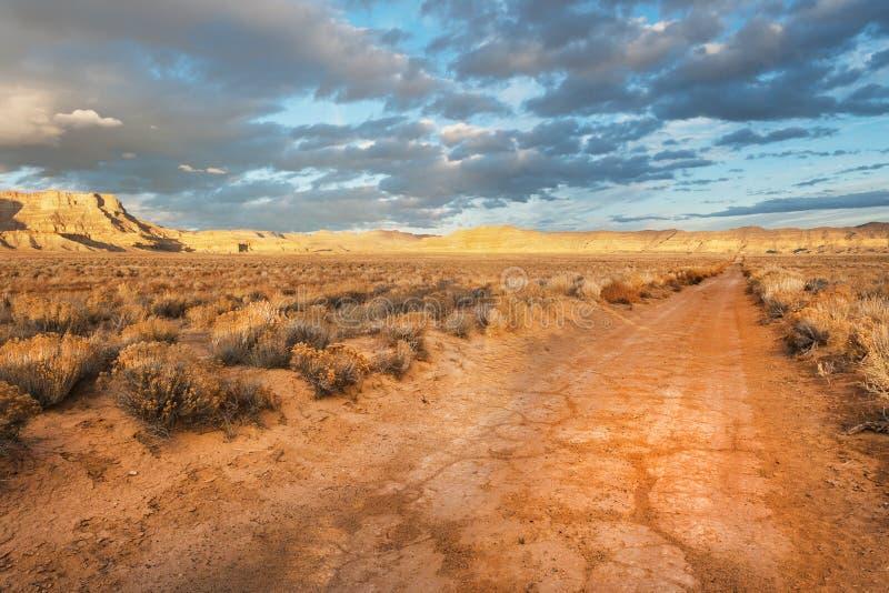 Unpaved desert road stock photography