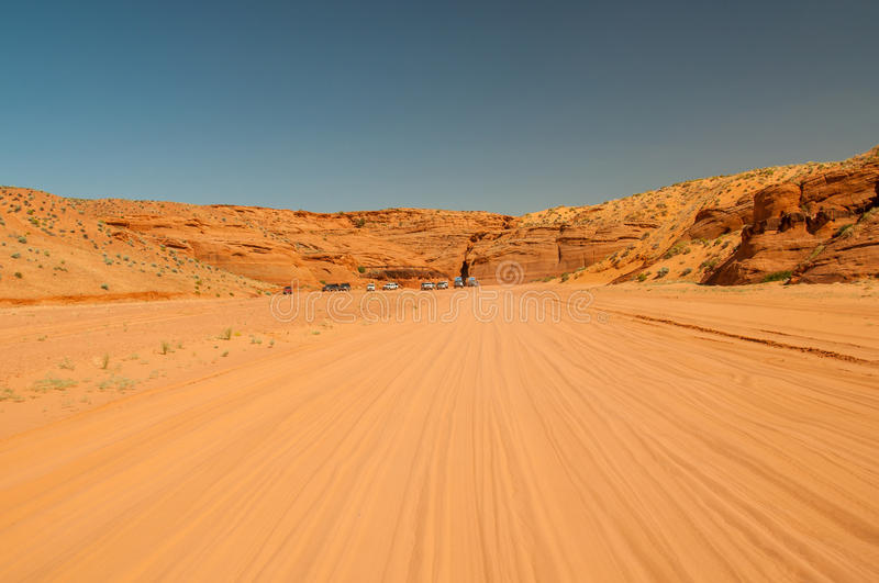 Unpaved road to Antelope Canyon, Page, Arizona within the Navajo. Unpaved road to Upper Antelope Canyon, Page, Arizona within the Navajo Indian Reservation on a stock photo