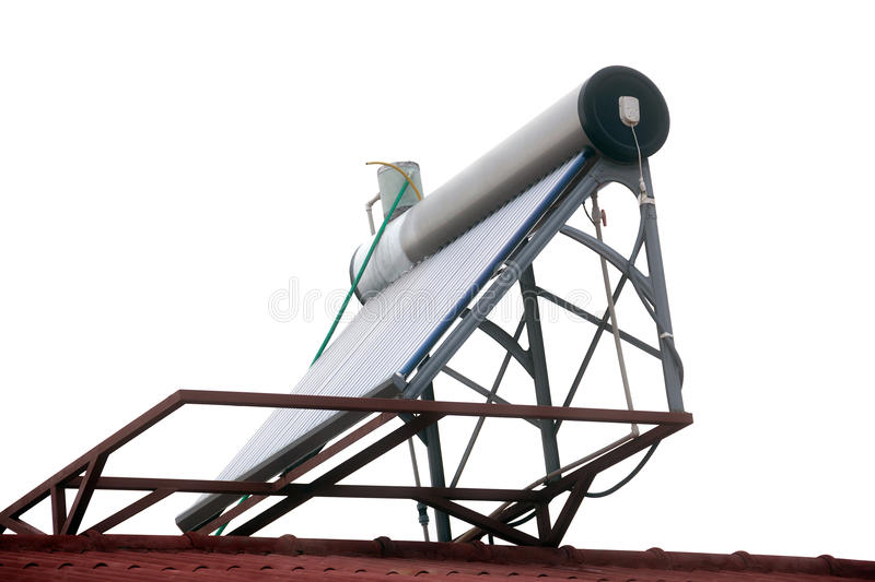 Unpressurized solar water heater. Non-pressurized solar water heater on the roof stock photography