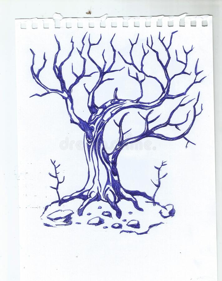 Unprocessed original scans of freehand drawings stock images