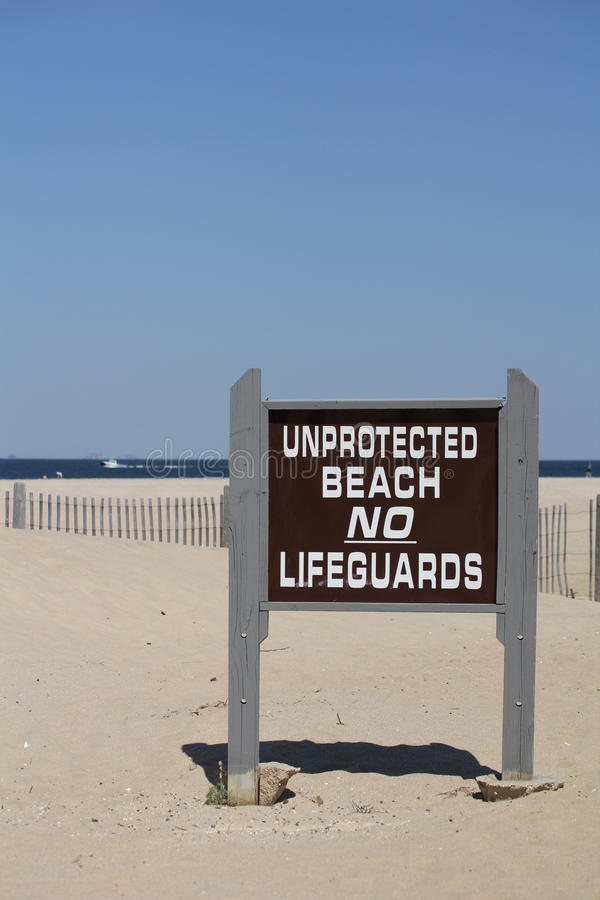 Download Unprotected Beach Sign No Lifeguards Stock Images - Image: 24550964