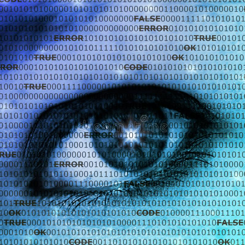 Unprotected data/internet security concept. An eye behind rows of ones and zeros and computer terms royalty free stock photo