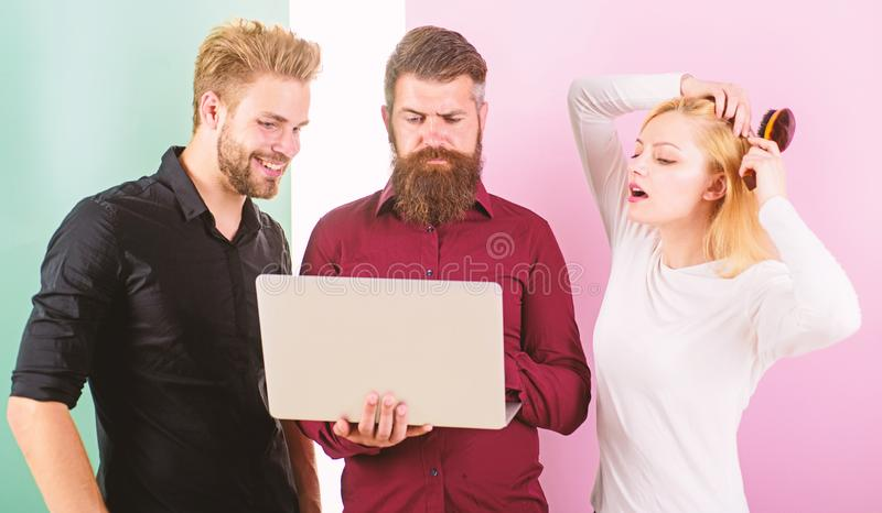 Unpunctual people usually annoying coworkers and breaking discipline system. How to be always on time. Work on your. Punctuality. Girl brushing hair while men royalty free stock images