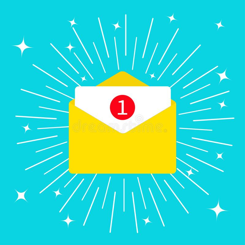 Unread mail notification with number marker. Email icon. Shining sparkle effect. Yellow paper envelope. Open letter template. New vector illustration