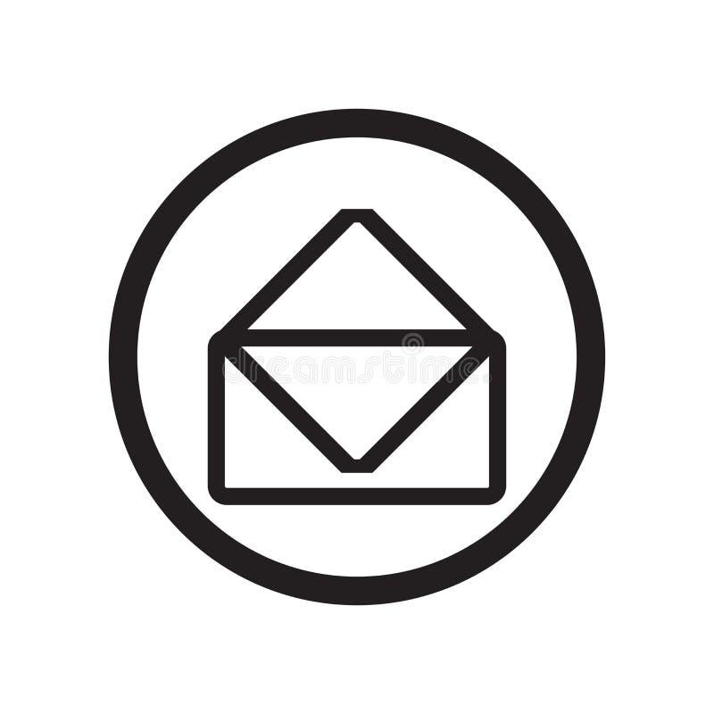 Unread tecken och symbol för postsymbolsvektor som isoleras på vit bakgrund, Unread postlogobegrepp vektor illustrationer