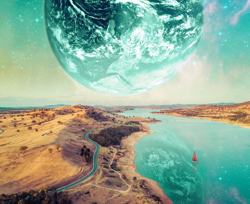 Unreal fantasy landscape of sailboat sailing across a river on alien planet. Elements of this image furnished by NASA. Unreal fantasy landscape of sailboat stock illustration