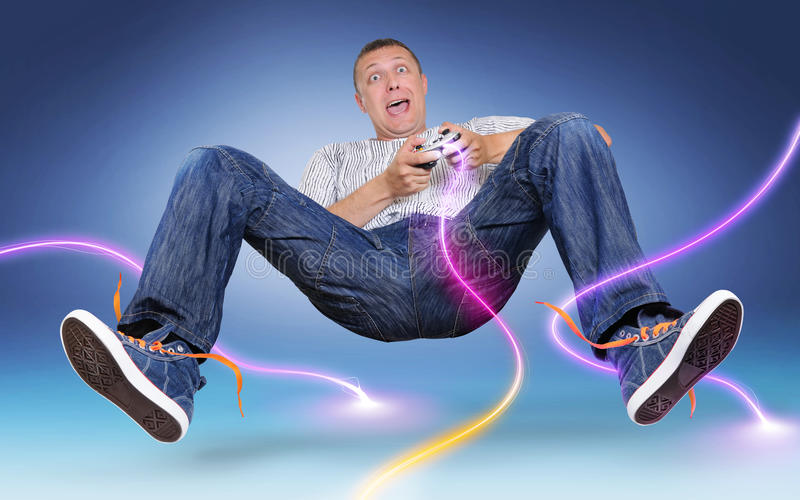 Download Unreal Gamer With Gamepad, Color Electric Discharge Royalty Free Stock Image - Image: 15825766