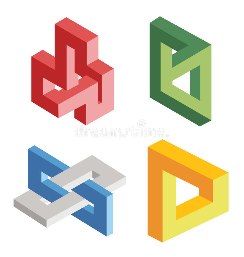 Unreal geometrical objects. Unreal bright geometrical objects stock illustration