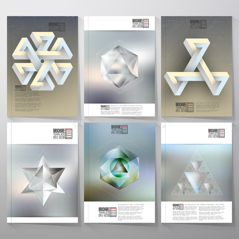 Unreal impossible geometric figures, polygon. Patterns with reflections. Brochure, flyer or report for vector business templates stock illustration