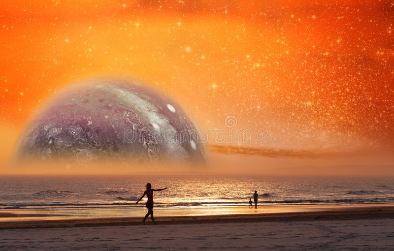 Unreal landscape of dancer silhouette dancing on the beach of alien planet at sunset. Elements of this image furnished by NASA. Unreal landscape of dancer royalty free illustration
