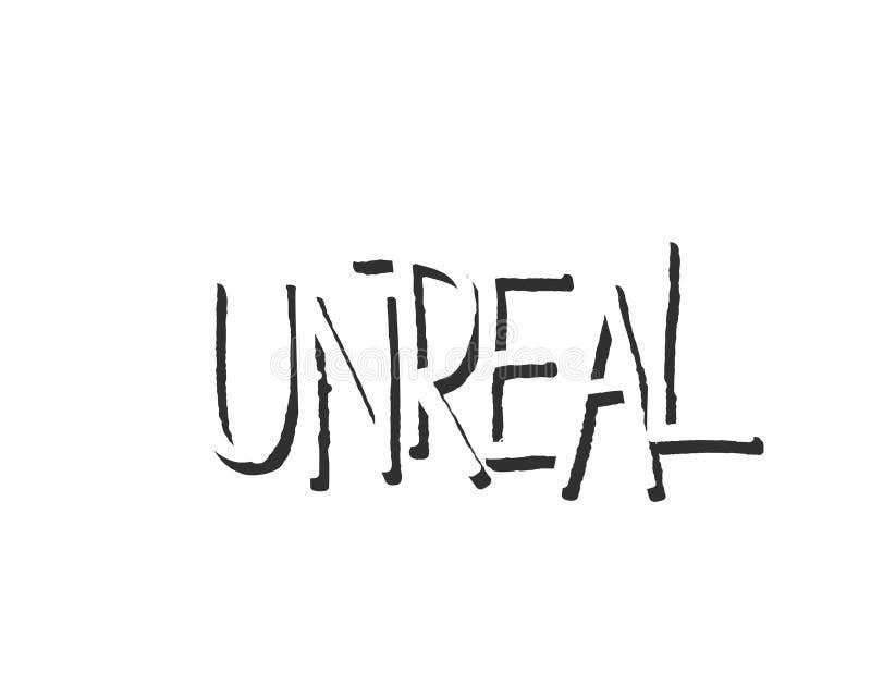 Unreal lettering design sleng text logo. Decorative typography element. Unreal lettering design sleng text logo. Decorative typography printable element stock illustration