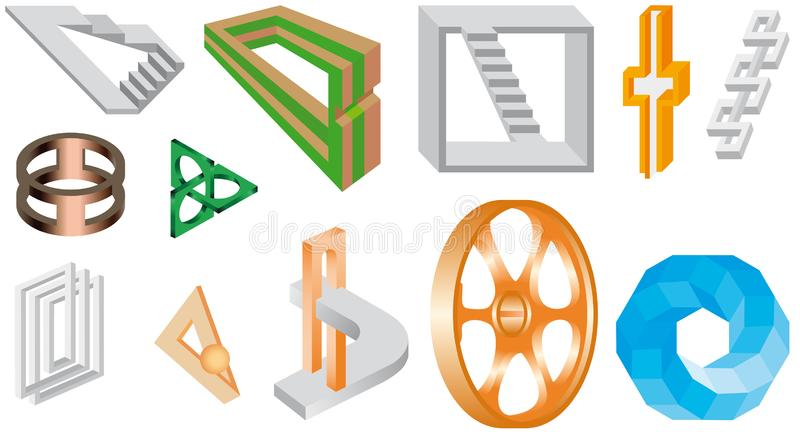 Unreal objects - Illusions. Set of impossible shapes. Type of optical illusion in abstract geometrical shapes. Web design elements. Optical Illusion. Line stock illustration