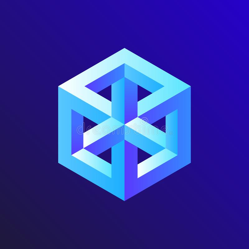 Unreal optical illusion cube illustration, isometric drawing. Design royalty free illustration