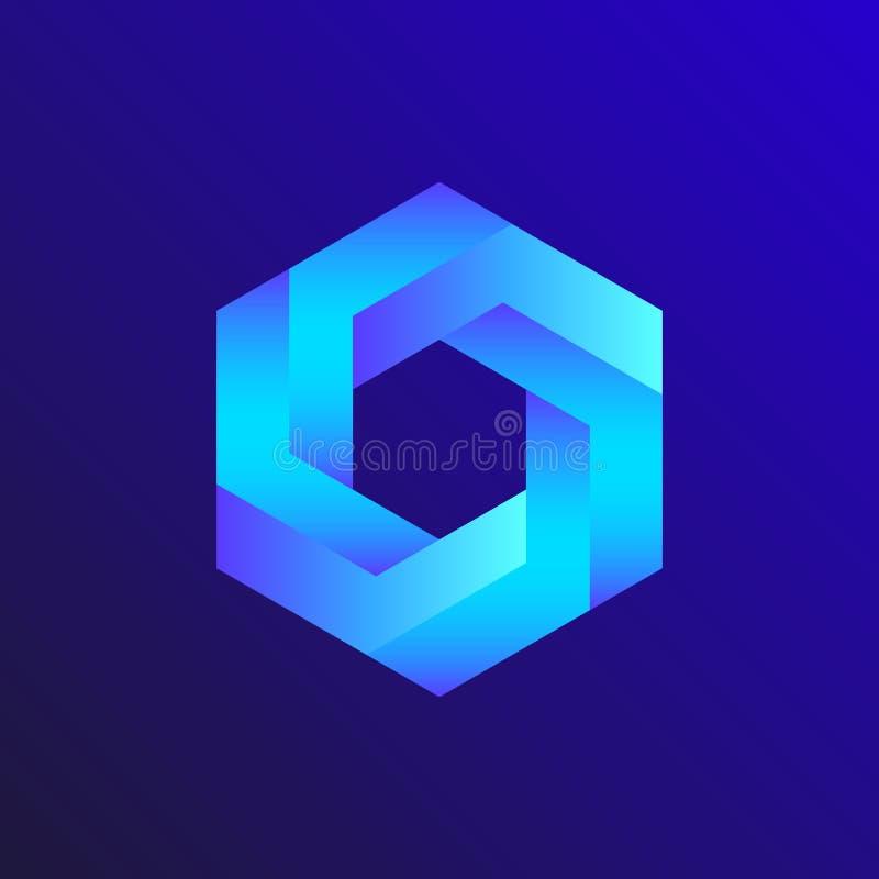 Unreal optical illusion  hexagon illustration, isometric drawing. Unreal optical illusion royalty free illustration