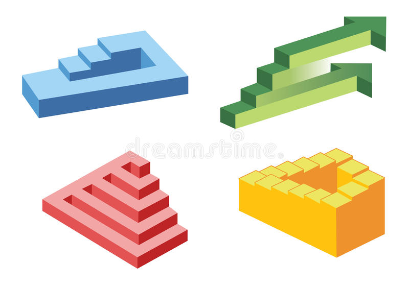 Unreal stairs symbols,. On white royalty free illustration