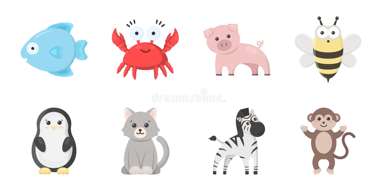 An unrealistic animal icons in set collection for design. Toy animals vector symbol stock web illustration. stock illustration