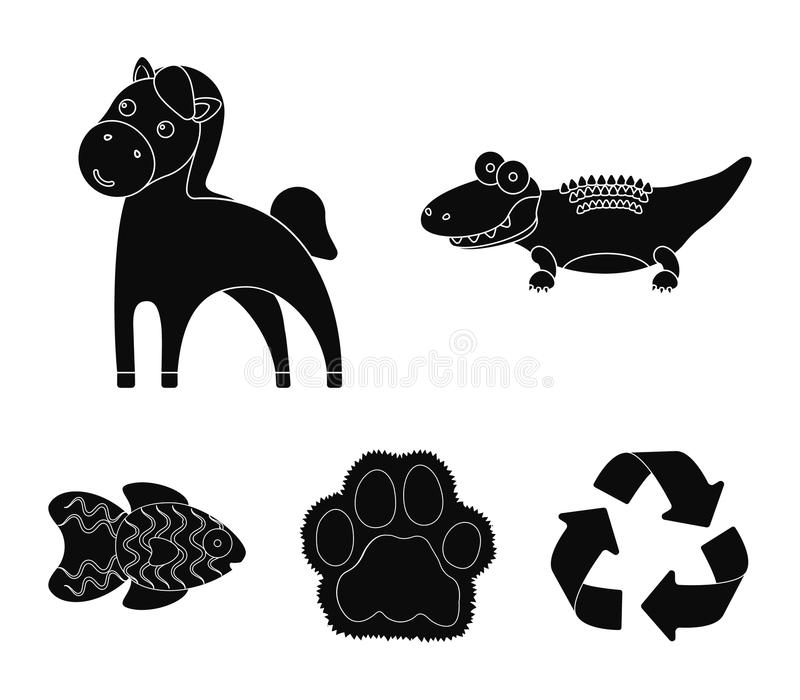 An unrealistic black animal icons in set collection for design. Toy animals vector symbol stock web illustration. vector illustration