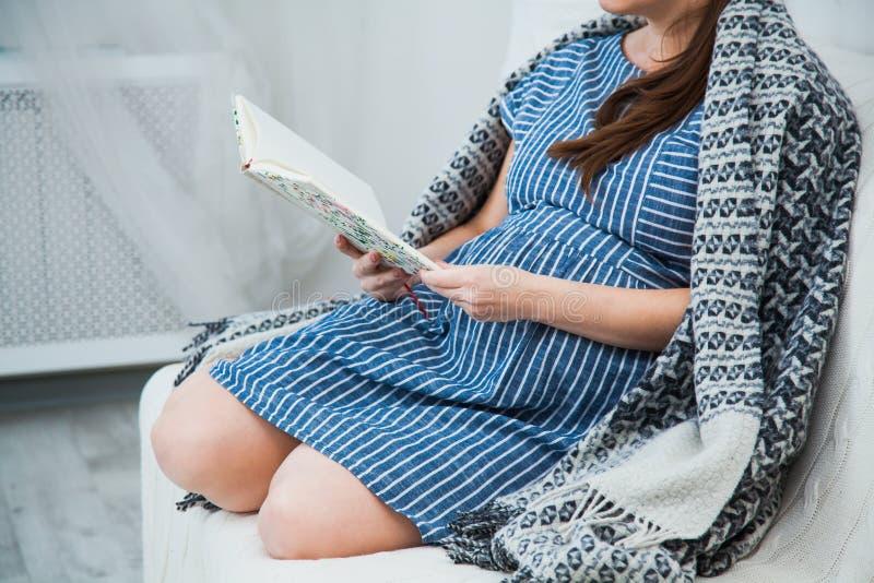 Unrecognisable Lesung der schwangeren Frau auf Sofa unter grauem Plaid stockbilder