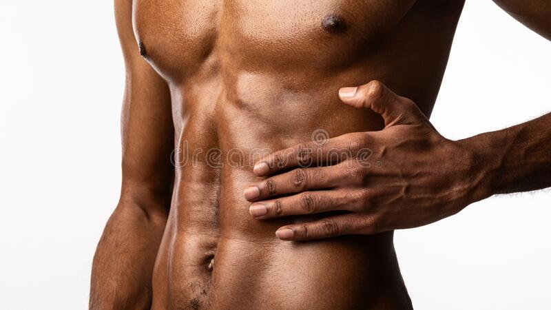 Unrecognizable Bodybuilder Touching Aching Abdominal Muscle Over White Background Panorama Stock Image Image Of Concept Banner 178491207