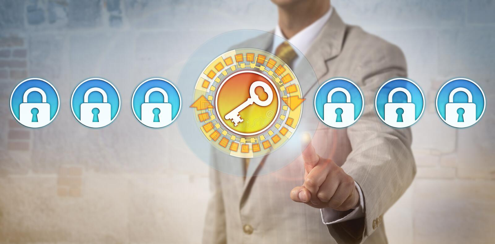 Administrator Highlighting Key In Row Of Locks royalty free stock photography