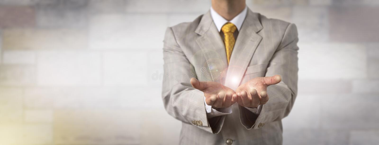 Man Presenting Empty Copy Space In Open Hands royalty free stock image