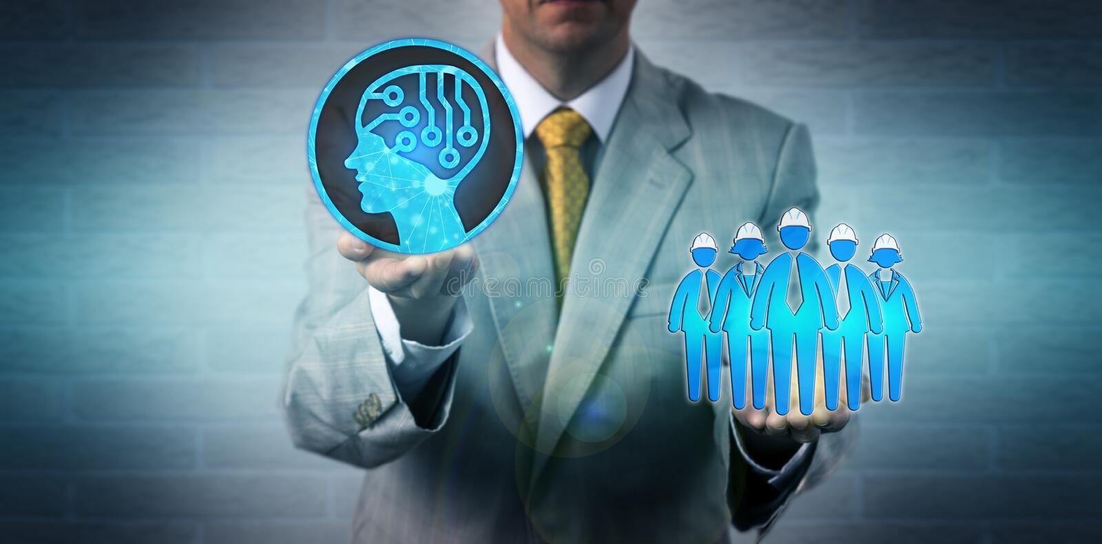 Manager Raising AI Above Blue Collar Worker Team royalty free stock images