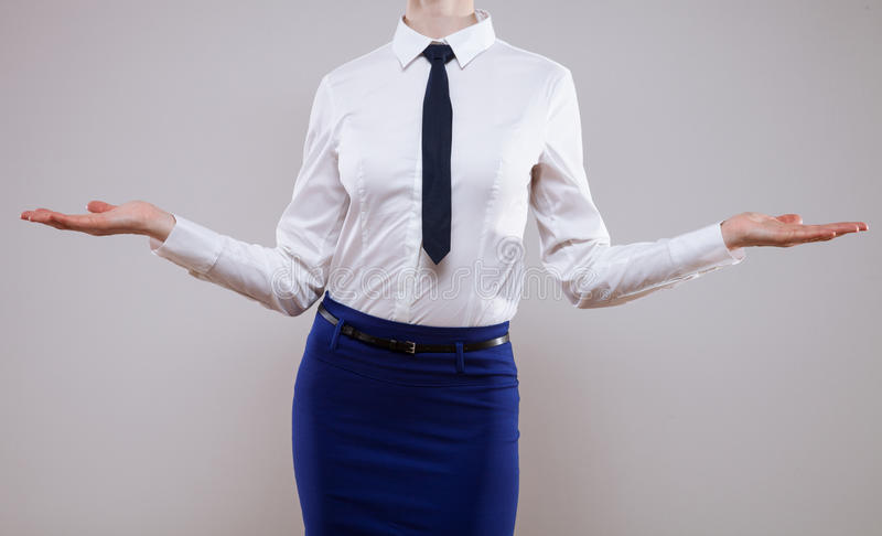 Unrecognizable business woman showing empty palms stock image