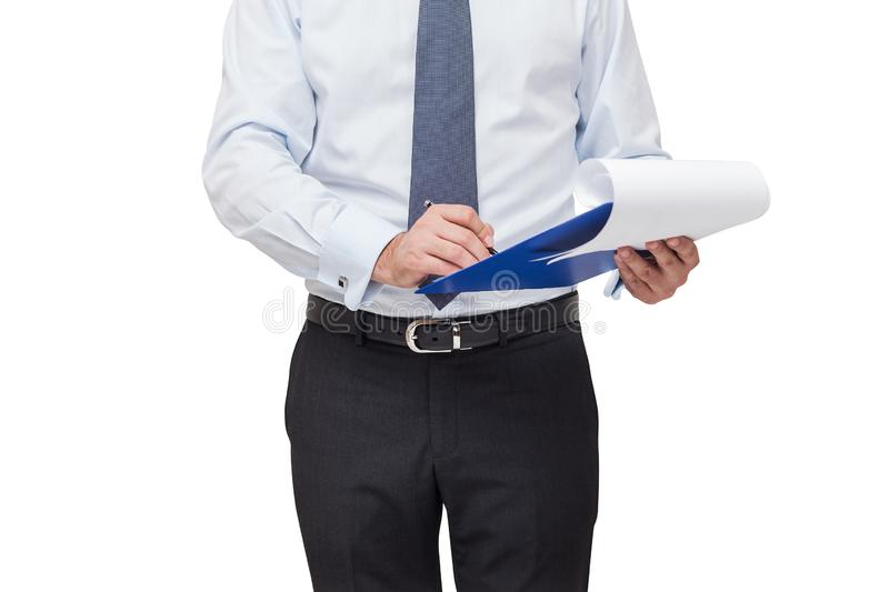 Unrecognizable businessman with clipboard. Close up isolated portrait of unrecognizable businessman wearing shirt and tie and writing in clipboard stock photography