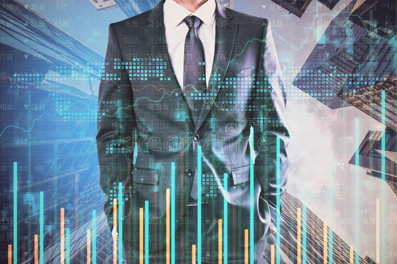 Unrecognizable businessman in forex city. Unrecognizable businessman standing on abstract city background with forex chart. Success and trade concept stock photos