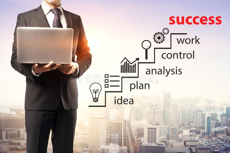 Technology, plan and success concept royalty free stock photo