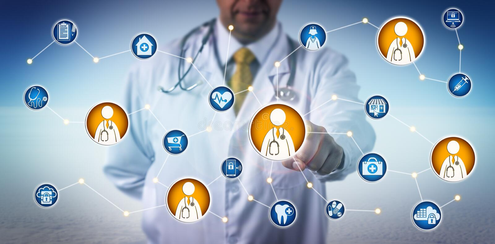 Doctor Consulting Via Clinician-To-Clinician Net royalty free stock photo