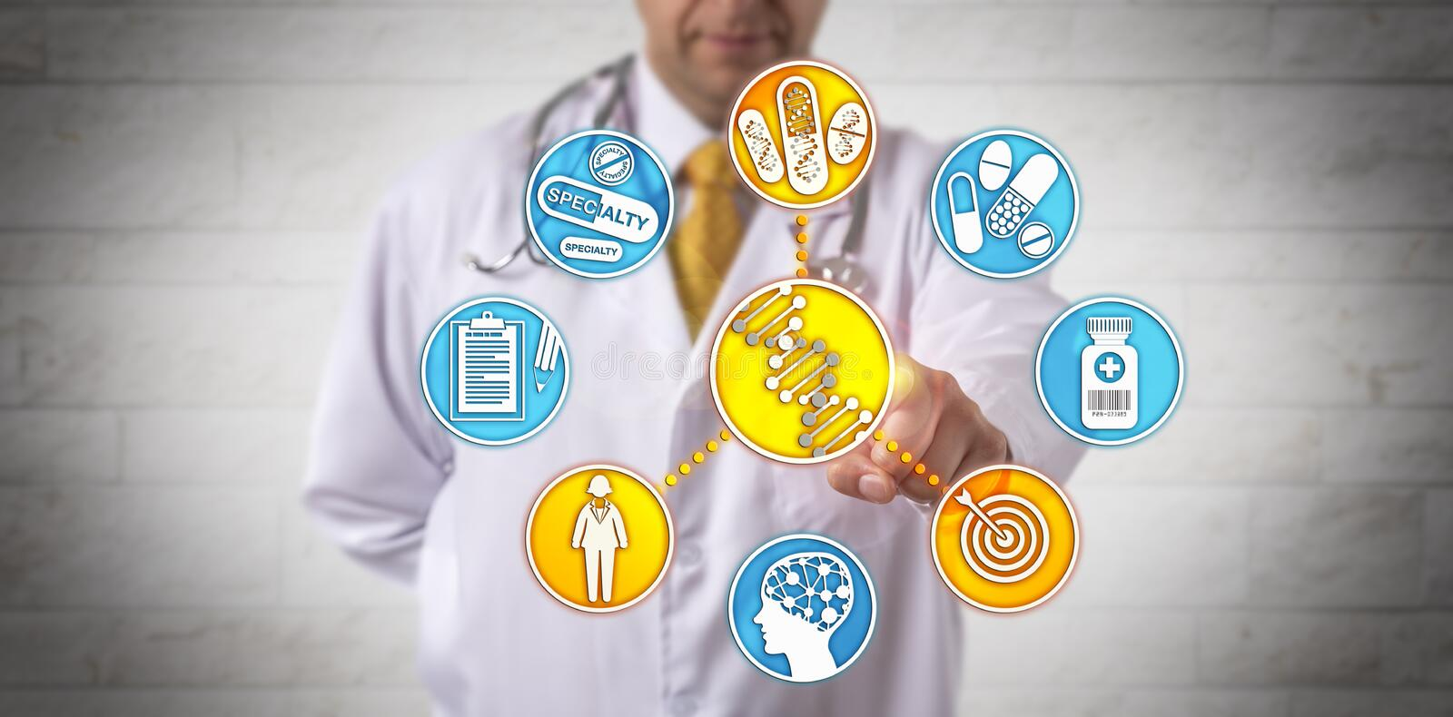 Clinician Delivering Healthcare Via DNA Analysis stock images