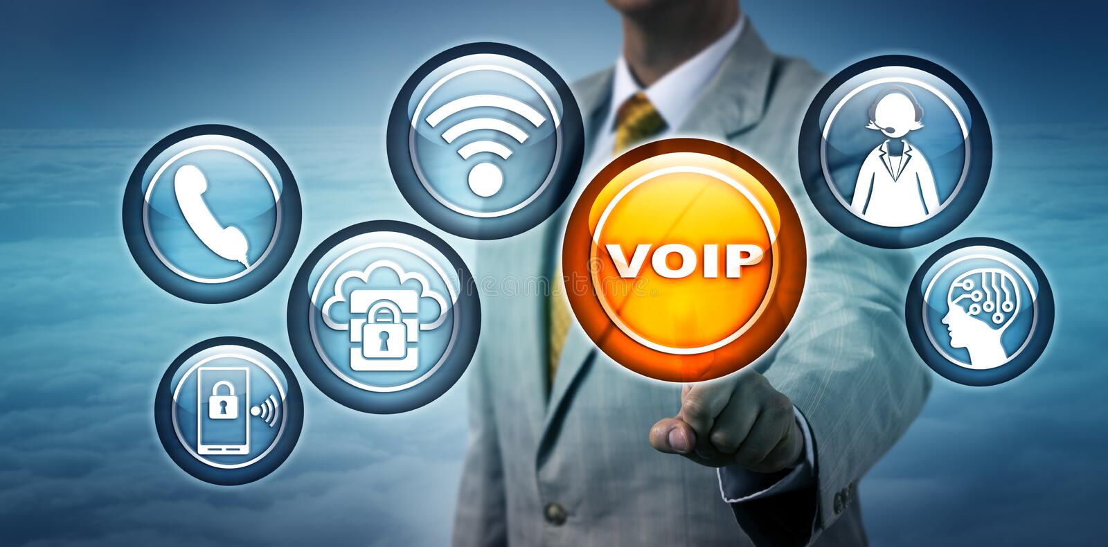 Unrecognizable Consultant Highlighting VOIP App royalty free stock images