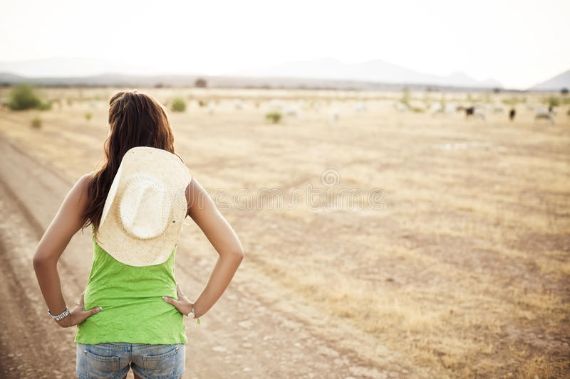 Unrecognizable cowgirl royalty free stock images