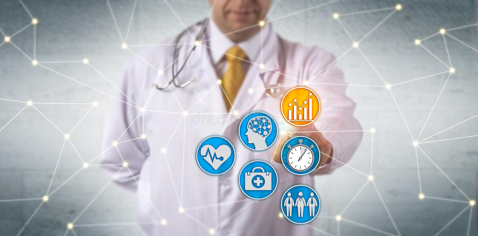 Doctor Activating Predictive Analytics In Network stock photo