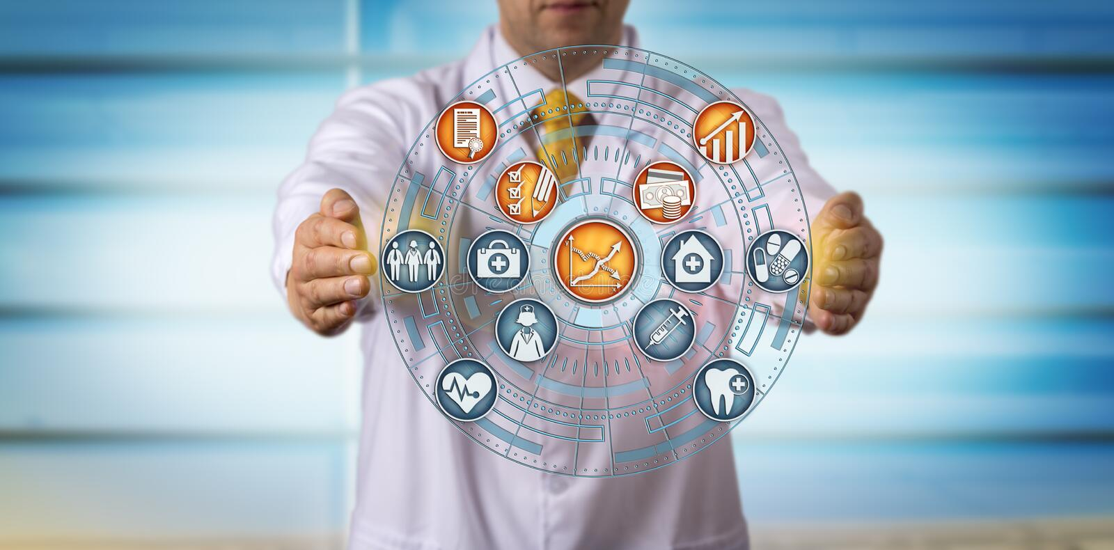 Projecting Improved Profits From Value-Based Care. Unrecognizable doctor of medicine projecting improved profits and efficiency from value-based care. Healthcare stock images