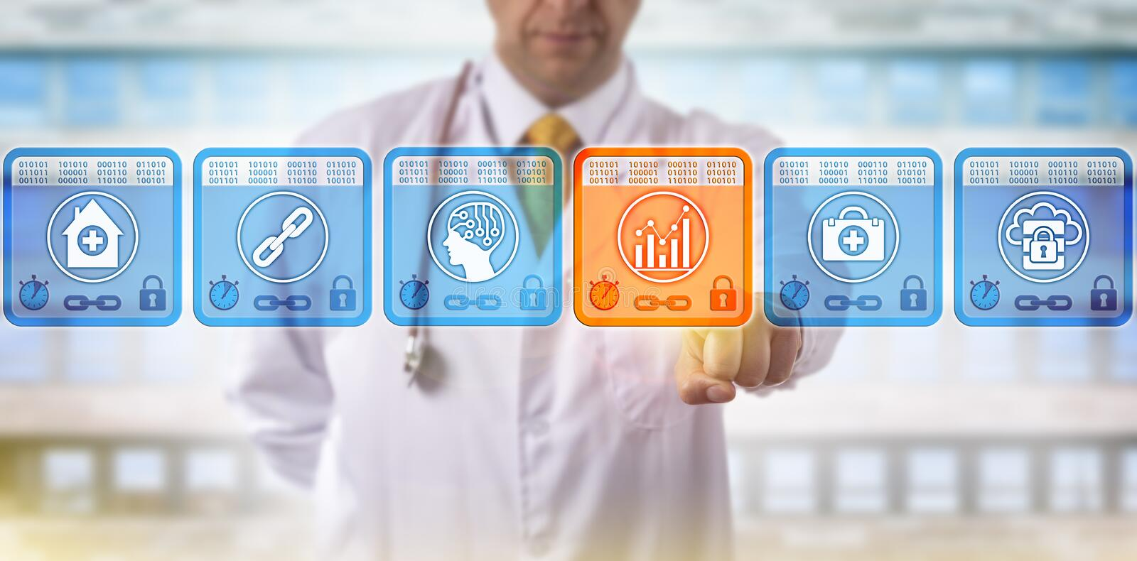 Doctor Selecting Analytics Block In Blockchain. Unrecognizable doctor of medicine selecting analytics data block in medical blockchain. Healthcare IT concept for stock image