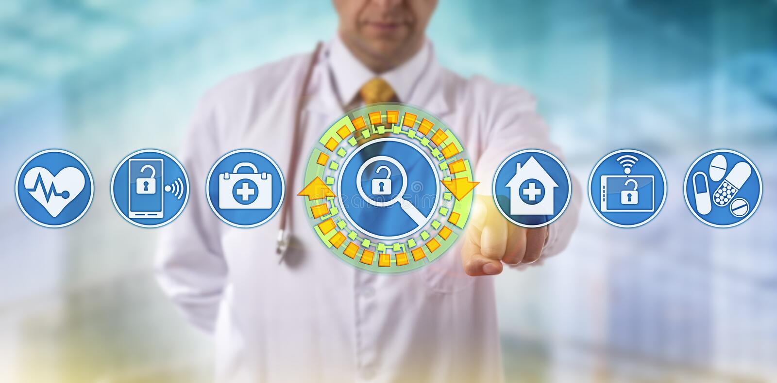 Unrecognizable Doctor Searching Healthcare Data royalty free stock photography