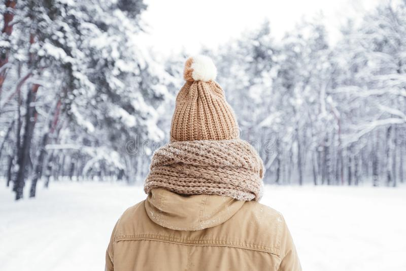 Unrecognizable Guy Standing Back To Camera In Snowy Forest royalty free stock photo