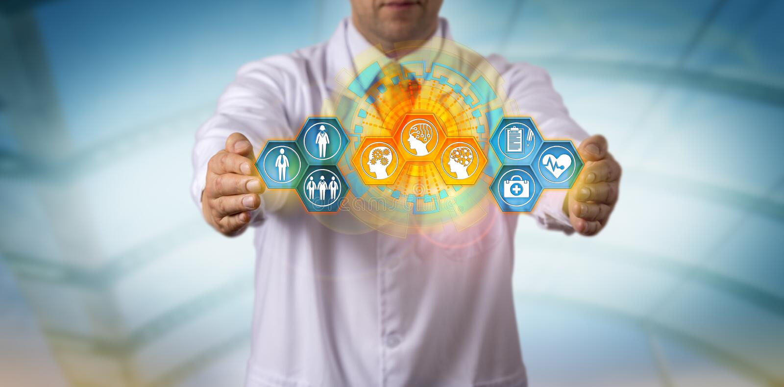 Clinician Integrating Patient Data With Smart AI royalty free stock images