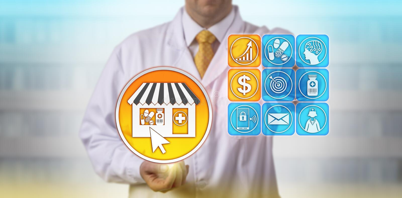 Pharmacist Forecasting Growth Of Self-Care Market royalty free stock images