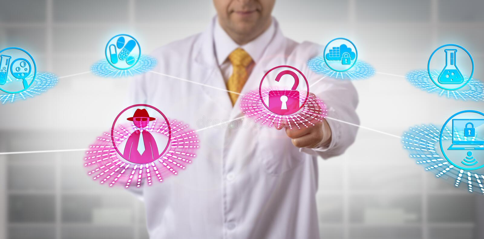 Pharma Scientist Encountering Data Integrity Risk. Unrecognizable male pharmaceutical lab scientist encountering a data integrity risk while computing via stock image