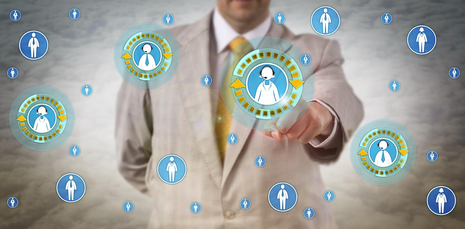 Unrecognizable Manager Initiating Conference Call. With two female and two male white collar colleagues in cyberspace. Concept for peer to peer network royalty free stock photo