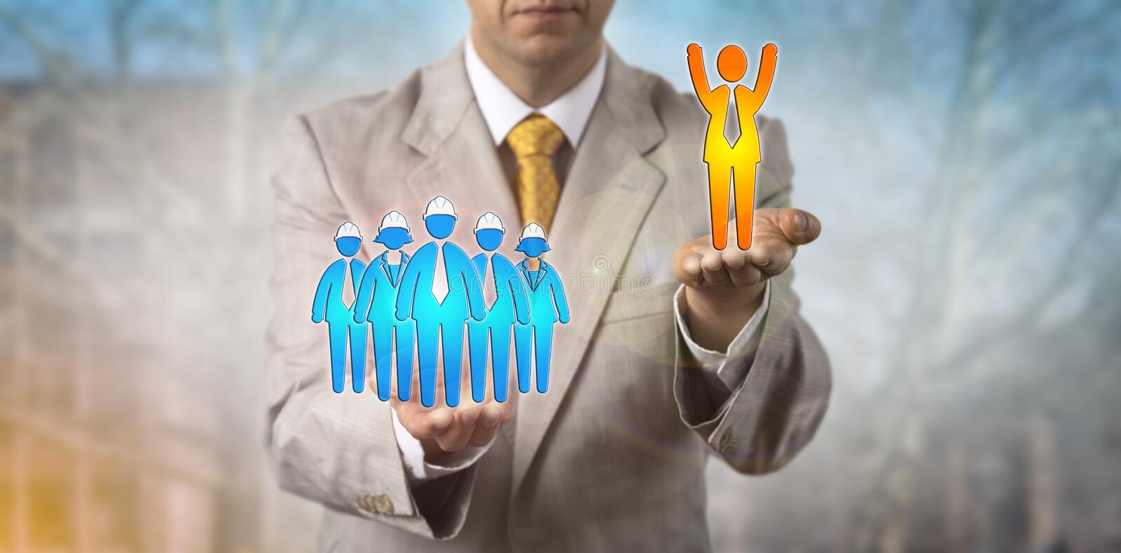 Raising Cheering Male Employee Over Worker Group royalty free stock photos