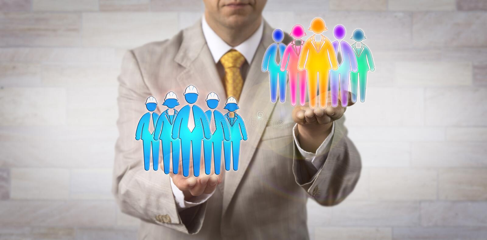 Man Raising Multicultural Team Over Blue Collars royalty free stock photography