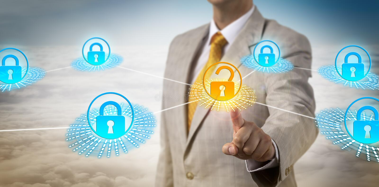 Administrator Accessing Data Secured By Perimeter. Unrecognizable network administrator unlocking data piece secured by a virtual perimeter. Computer security stock images