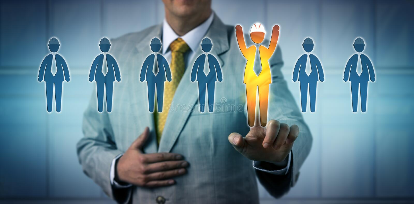 Recruiter Selecting A Cheering Blue Collar Worker. Unrecognizable recruiter selecting one cheering male blue collar worker among seven candidates. Recruiting royalty free stock photo